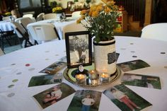 Love these centerpieces! Each jar & clip has an interesting fact about the person.