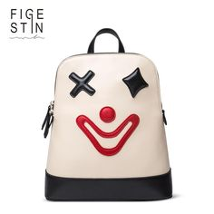 FIGESTIN Backpacks for Teenager Girls Fashion Cute White Cartoon Clown Pattern School Backpack Original Design School Bags Women. Yesterday's price: US $89.98 (74.38 EUR). Today's price: US $18.00 (14.98 EUR). Discount: 80%.