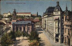 Stara razglednica Zagreba s motivom Preradovićevog trga iz fonda Grafičke zbirke NSK iz 1922. godine.