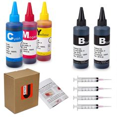 JetSir Compatible refill kit for HP with Syringe and Instruction (2 Black, 1 Cyan, 1 Magenta, 1 Yellow) 100ML