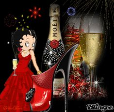 betty boop happy new year Pictures [p. Happy Birthday Betty Boop, Happy Birthday Wishes, Happy New Year Gif, Happy New Year Pictures, An Nou Fericit, Black Betty Boop, Boop Gif, New Year Art, Betty Boop Cartoon