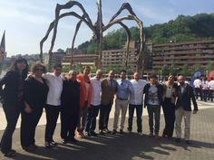 Josemi Olazabalaga en MasterChef3 en Bilbao junto a otros cocineros de Bizkaia.