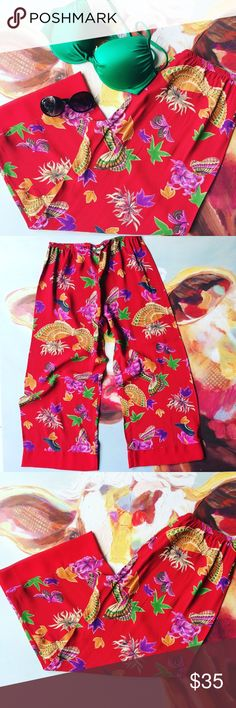 Vintage Loco Wido wide leg rayon lounge pants swim Vintage oriental butterfly print wide leg pants. Rayon, slightly sheer when held up to the light. Super comfy and unique! Excellent condition. Size Large. Great for lounge or over swimwear.  Waist: stretch elastic Rise: 11 Inseam: 27 Bottob leg width: 12 in 💐 No trades. 💕Happy poshing! Tags # VTG 10 12 9  Hawaiian tropical island beach sun summer loungewear swimsuit cover vintage Pants Wide Leg