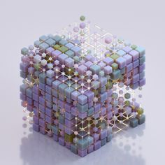 An abstract cube structure made up of small cubes that are interconnected. Delivering the world's best CGI. Discover our exclusive, curated collection of images and animations from leading digital artists. Graphisches Design, 3d Figures, White Gel Pen, 3d Artwork, 3d Drawings, Cg Art, 3d Max, Drawing Skills, Gel Pens