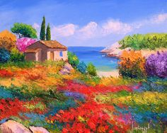 Palette knife oil paintings of French landscapes . Jean Marc Janiaczyk Landscape Painting with palette knife. landscape of Provence; Scenery Paintings, Colorful Paintings, Beautiful Paintings, French Paintings, Beautiful Scenery, Landscape Art, Landscape Paintings, Landscape Photos, Diy Painting