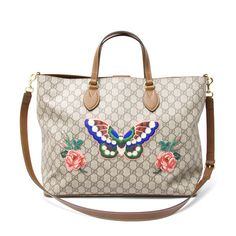 52834218724 GUCCI 453705 Tote Bag GG Supreme Canvas Butterfly Japan Ltd Ladies Mint   8461