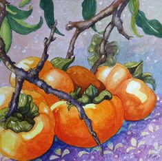 """Daily Paintworks - """"Safe After the Frost Persimmon Watercolor painting"""" - Original Fine Art for Sale - © Alida Akers Prismacolor, Rembrandt, Watercolor Paintings, Original Paintings, Watercolor Food, Watercolours, Watercolor Plants, Original Art, Vegetable Illustration"""
