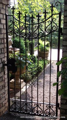 ornamental garden gates design Fence Co Custom Wrought Iron Gates in Raleigh NC Durham Chapel Hill Metal Gates, Wrought Iron Fences, Metal Fence, Wrought Iron Gate Designs, Bamboo Fence, Side Gates, Front Gates, Garden Gates And Fencing, Fence Gates
