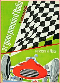 Poster for the first Formula 1 Italian Grand Prix at Monza. Italian Nino Farina piloted his Alfa Romeo 158 to victory in the event held  on 3 September 1950. It was race 7 of 7 in the 1950 World Championship of Drivers, and Farina also claimed the first World Drivers' Championship at the season ending race. #F1 #Formula1 #ItalianGP #Monza
