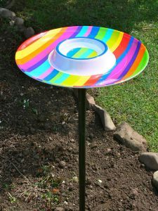Chip and dip tray repurposed upcycled as bird bath