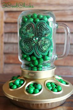 Chicken Feeder Candy Dish  St Patty's Day by 3CoolChicks on Etsy, $20.00