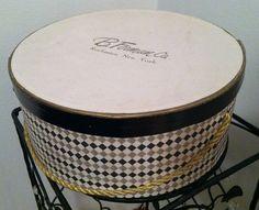 VINTAGE HAT BOX B. Forman Co. Checkered print pattern. $29.99, via Etsy. Vintage Hat Boxes, Checker Print, Church Hats, Kentucky Derby Hats, Pink Hat, Love Hat, Summer Hats, Hat Pins, Print Patterns