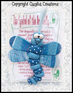 Becky's Polymer Clay  Dragonfly Story Ornament by clayfulcreations