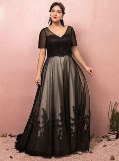 Plus Size Black V-neck Short Sleeve Prom Dress e856feddb01a