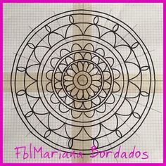Diseño para bordar mandala - Fb|Mariana Bordados Embroidery Monogram, Embroidery Transfers, Hand Embroidery Stitches, Embroidery Applique, Beaded Embroidery, Cross Stitch Embroidery, Embroidery Patterns, Stitch Patterns, Mandala Sketch