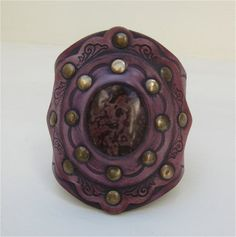 SALE Leather Cuff Purple Stone Tooled Design Wide by karenkell, $73.13