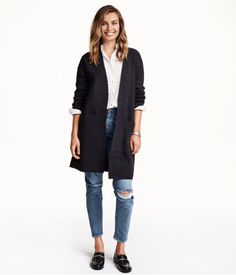 Jeans, button-down, long open cardigan, rolled up sleeves, flats