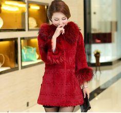 Real 100%  Rabbit Fur Raccoon Collar Sleeves Women Coat Jacket Overcoat Garment