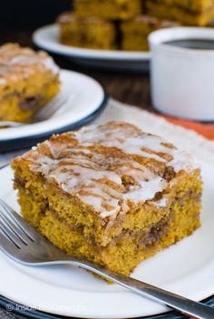 Soft pumpkin cake with sugar swirls makes this Cinnamon Roll Pumpkin Cake a…
