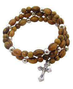 f2376d95544 Brazalete-rosario en madera de olivo de Tierra santa