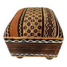 African Malian Mud Cloth Bogolan Textile Ottoman on Chairish.com