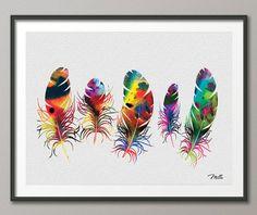 Feather Watercolor illustrations Art Print  8x10 door CocoMilla