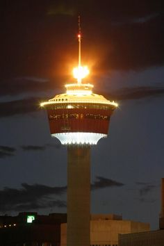 The Calgary Tower lit at night. There's no city celebration is complete without the flame! O Canada, Alberta Canada, Canada Travel, Alberta Travel, House Swap, Canadian Culture, Beautiful Vacation Spots, Scenery Pictures, Atlantic Canada