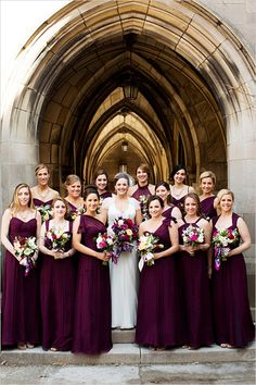 deep fig colored bridesmaid dresses | large bridal party | cathedral wedding | bridal party | #weddingchicks