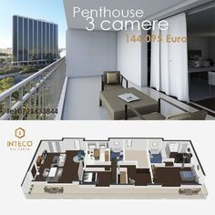 Penthouse cu 3 camere de 125 m2 144095 Euro  TVA Inteco Residence Timisoara  Traieste la un alt nivel!  Rezerva-ti un apartament sau un Penthouse la gri sau la cheie!  Tel 0721633844  #trancandtranc #intecoresidence #apartamentenoiîntimișoara #apartamentdevanzare #iuliusmalltimisoara Euro, Trance, Floor Plans, Instagram Posts, Trance Music, Floor Plan Drawing