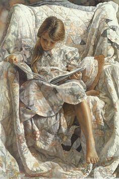 Artist: Steve Hanks, 1990 {contemporary figurative girl child watercolor painting}