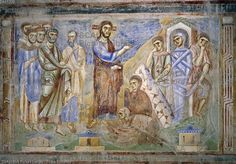 ******** The Resurrection of Lazarus, detail from the Stories of the New Testament, 1072-1078, Byzantine-Campanian school frescoes, right side of the nave of Basilica of Sant'Angelo in Formis, Sant'Angelo in Formis, Campania. Italy, 11th century.