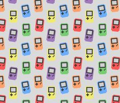 gameboy print available as fabric, gift wrap and wallpaper on spoonflower.com