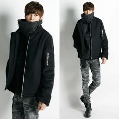Remember Click Mustang Mixed Material Jacket BLACK GRAY S M Korean Wear #RememberClick #BasicJacket