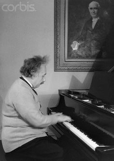Albert Einstein Playing Piano   (1879-1955), Physicist, is shown in this photograph