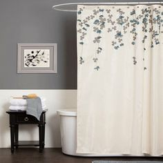 Lush Decor Flower Drop Shower Curtain from Wayfair. Saved to Home & Garden. Shop more products from Wayfair on Wanelo. Blue Shower Curtains, Bathroom Curtains, Style At Home, Lush, Diy Home, Home Decor, Grey Bathrooms, Master Bathroom, Sweet Home