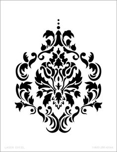 7 Best Images of Printable Damask Wall Stencils - Free Damask Stencil Printable Template, Large Wall Damask Stencil Pattern and Stencil Design Stencil Printing, Damask Stencil, Stencil Patterns, Stencil Art, Stencil Designs, Embroidery Patterns, Damask Patterns, Drawing Stencils, Alphabet Stencils