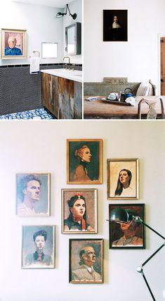 assorted vintage portraits hung on white walls / sfgirlbybay