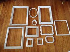 shabby chic frames open frames gallery set of 11 by MySugarBlossom, $175.00