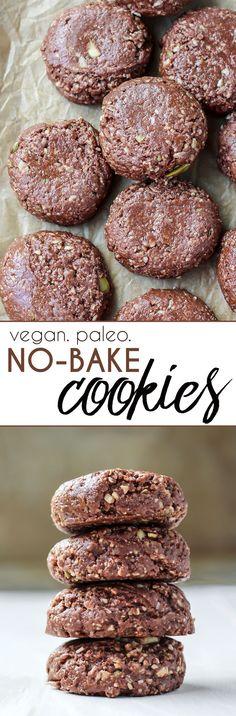 Vegan and paleo-friendly Grain-Free No-Bake Cookies! Healthy fats, low sugar.