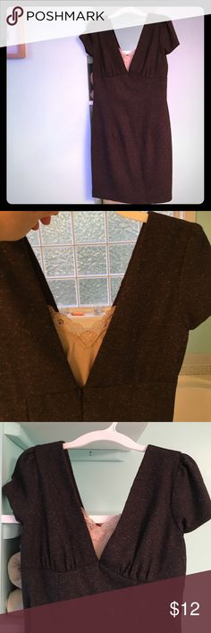 Tweed style fitted dress Forever Brand. Dark gray herring bone print with tiny caramel dots. Very fitted, says med but fits like a small- size 4, has a lace tank insert but it's unattached. forever Dresses Mini