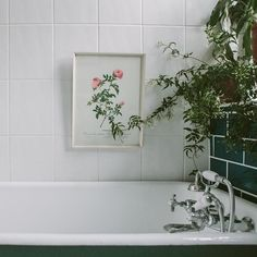 Love the deep green of the roll top bath - Anna Potter's Home | Design*Sponge