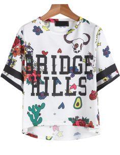 White Short Sleeve Floral BRIDGE HILLS Print T-Shirt - Sheinside.com