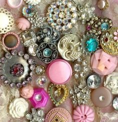buttontemplatesm by parisbebe.com, via Flickr...Vintage rhinestone button collection