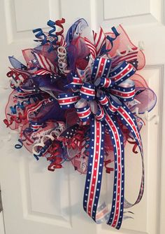 Patriotic Wreath Veterans Day Wreath Fourth of July by RoesWreaths Patriotic Wreath, Patriotic Decorations, 4th Of July Wreath, Holiday Decorations, Wreath Crafts, Decor Crafts, Wreath Ideas, Memorial Day Wreaths, Outside Decorations