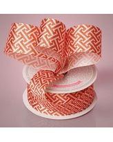 "1-1/2"" X 10 Yards Orange Satin Greek Key Print Ribbon by Paper Mart"