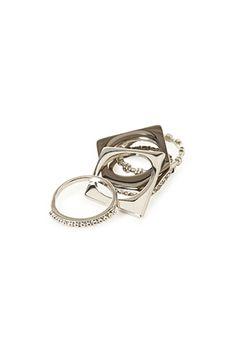 Rhinestoned Square Ring Set | FOREVER21 - 1000118239