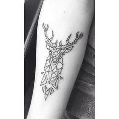 Geometric Stag Tattoo // Forearm, Male, Tatt, Ink, Deer, Horns, Geo