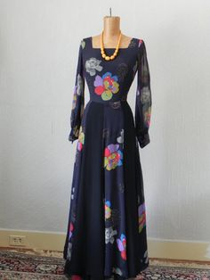 1970s Silk Chiffon Maxi Dress by ehclassicvintage on Etsy, $110.00 Chiffon Maxi Dress, Silk Chiffon, 1970s, Dresses With Sleeves, Long Sleeve, Etsy, Products, Fashion, Moda
