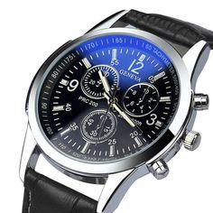Основные 2015 Новая Мода Черный Цвет Часы Мужчины Luxury Искусственная Кожа Аналоговые Наручные Часы Браслет Бесплатная Доставка Jan11