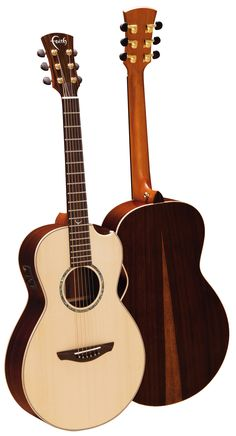 Faith Acoustic Guitars. FMEHG-BNC Mercury Parlour with Scoop. HiGloss Series. Solid rosewood with figured sapwood.